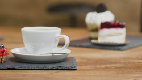 Tea and cakes in a cafe