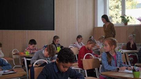 Teacher happy with her class