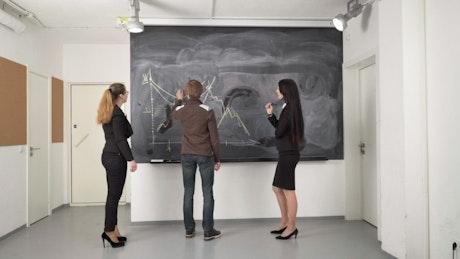 Team working on a blackboard