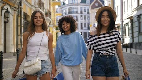 Teenage friends enjoying a shopping trip