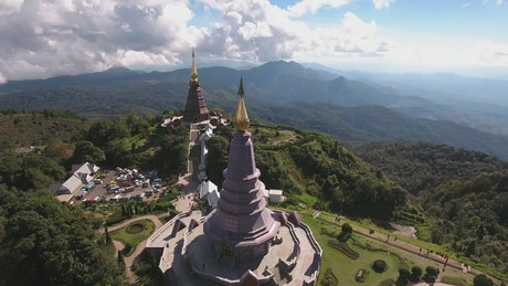 Temple on a hill in nature from on high