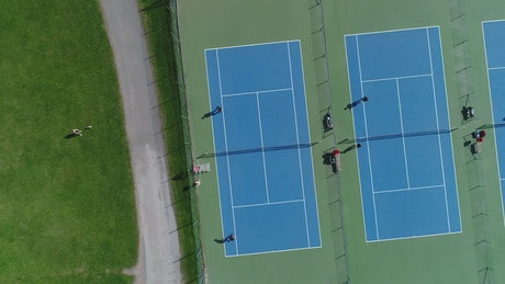 Tennis courts filmed from the air