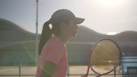 Tennis player during a match