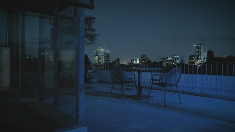Terrace of a building at night