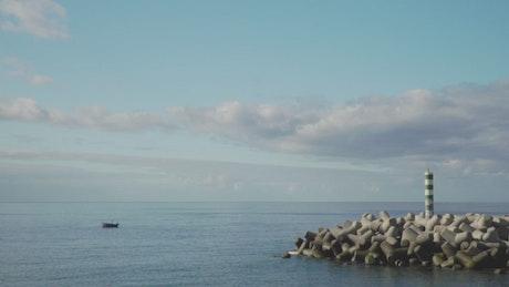 Tetrapod wall in the seashore