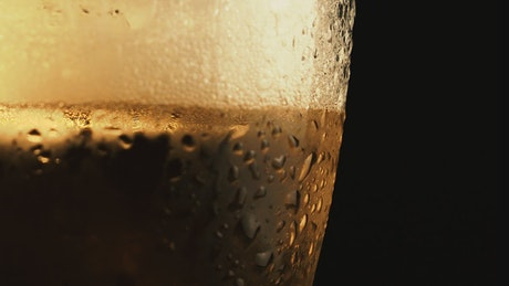 Texture of glass with cold beer