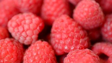 Texture of raspberrys, close up view