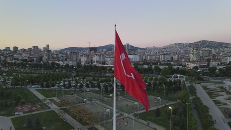 The city around a Turkish flag flying high
