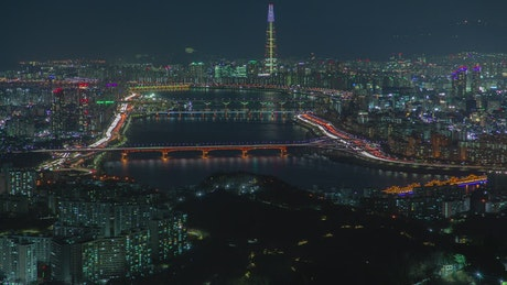 The city of Seoul at night