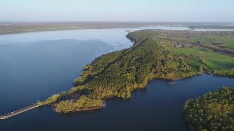 The dam of a river, aerial shot