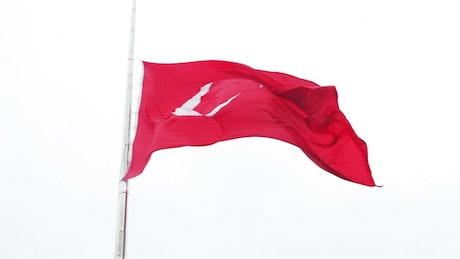 The flag of Turkey waving