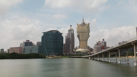 The great cathedral of Macau and a bridge