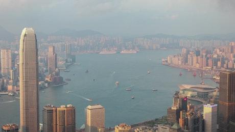 The landscape of Hong Kong harbor