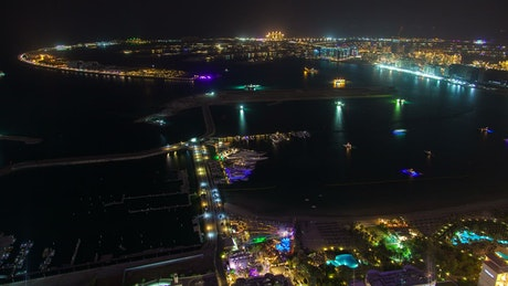 The Palm Jumeirah landscape at night