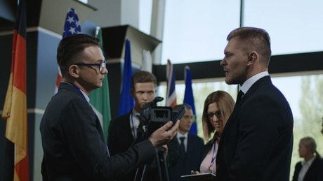 The politician being interviewed by a journalist