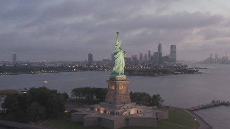 The Statue of Liberty, aerial spinning shot