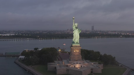 The Statue of Liberty during dusk