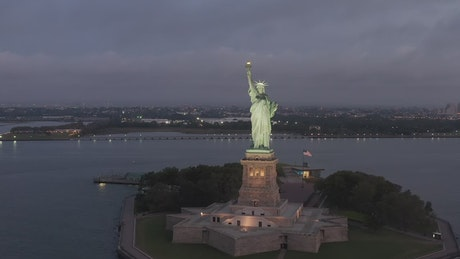 The Statue of Liberty seen from the front