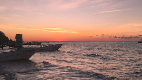 The sunset near the seashore