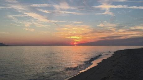 The sunset on a empty beach
