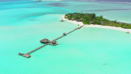 The turquoise sea pier, aerial view