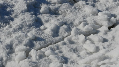 Thick ice covering the ground