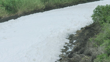 Thick layer of foam covering a path