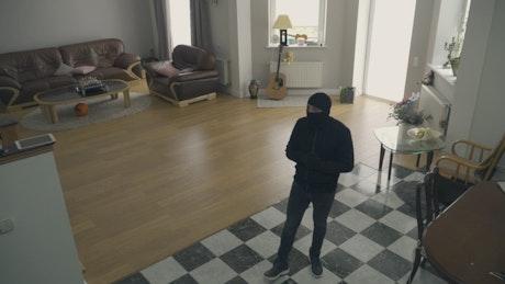 Thief creep through house and looks up at camera