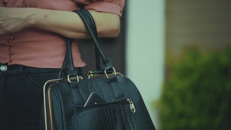 Thief silently steals a woman's cell phone from a purse