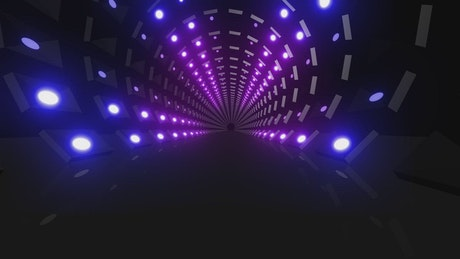 Through a 3D tunnel with many points of light