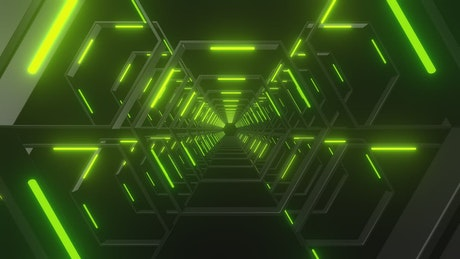 Through a tunnel made of hexagons of green light
