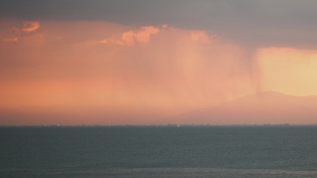 Thunderstorm heading over an island