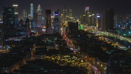 Tianjin city landscape at night