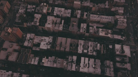 Tilt aerial shot of the skyline in Manhattan, NYC