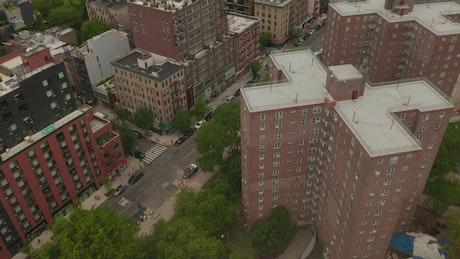 Tilt aerial shot revealing the New York skyline