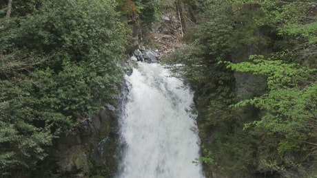 Tilt shot of a waterfall in slow motion