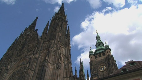 Time lapse of a cathedral and the sky