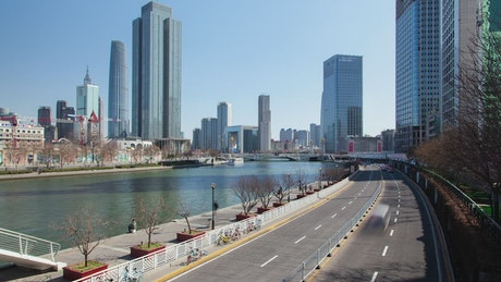 Time lapse of a Chinese city road in daytime