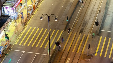 Time lapse of a crosswalk in Hong Kong