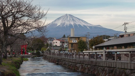 Time lapse of a street and mount Fuji