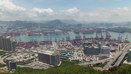 Time lapse of a trading port in Hong Kong
