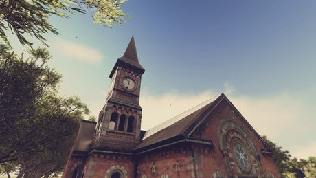 Time lapse of an old church with a clock tower