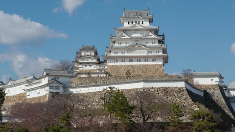 Time lapse of historic temple and fortress in Japan