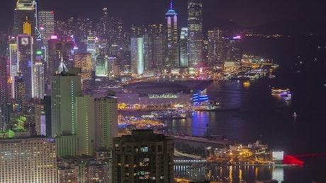 Time lapse of Hong Kong city at night