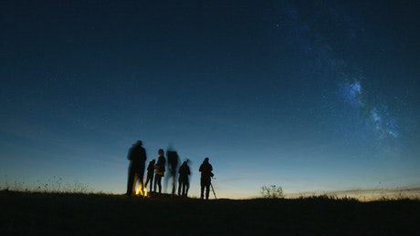Time lapse of people stargazing