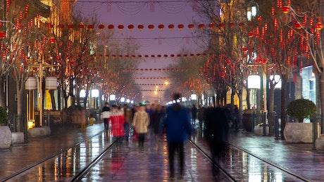 Time lapse of people walking on a street in Beijin