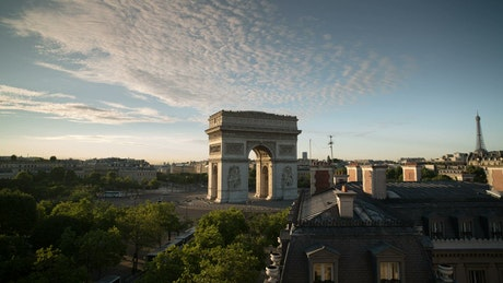 Time lapse of the Arc de Triomphe in Paris from afar