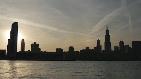 Time lapse of the Chicago skyline sunset