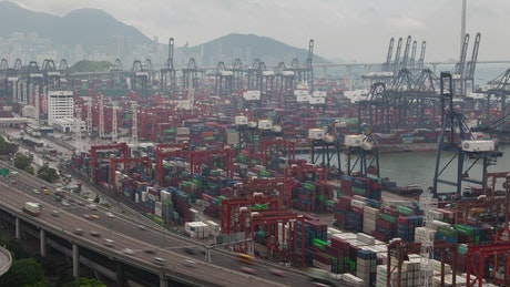 Time lapse of the container port in Hong Kong