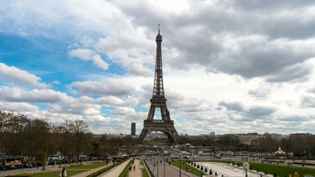 Time lapse of the Eiffel tower landscape
